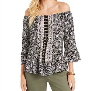 STYLE & CO. printed convertible neck top
